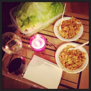Homemade spicy chicken lettuce wraps on the classy coffee table