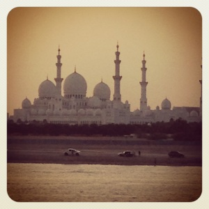 "The Grand Mosque in Abu Dhabi. Picture taken at ""sunset,"" moments before total nighttime."