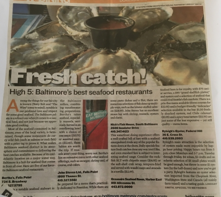 """Baltimore's Best Seafood"", b Magazine (formerly metromix.com), Baltimore, MD, USA. Spring 2009."