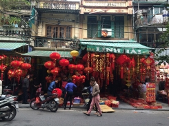 Colorful lanterns sold on this street - the entirety of this part of the world is preparing for Tet, the lunar New Year.