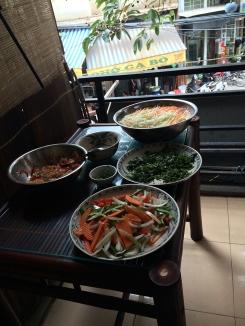 Cooking class mis en place.