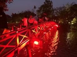 Bridge to Ngoc Son Temple in the lake.