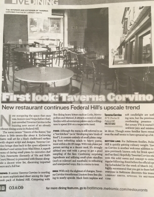 """Taverna Corvino Restaurant Launch"", b Magazine (formerly metromix.com), Baltimore, MD, USA. Spring 2009."