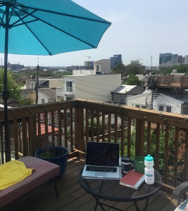 working on the roof deck